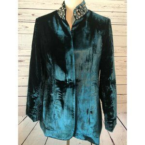 Soft Surroundings Velour Blazer jacket Medium Teal